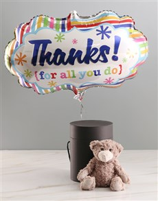 gifts: Thank You Balloon With Teddy Bear In Hat Box!
