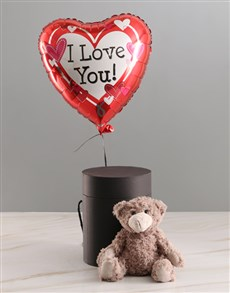 gifts: I Love You Balloon With Teddy Bear In Hat Box!
