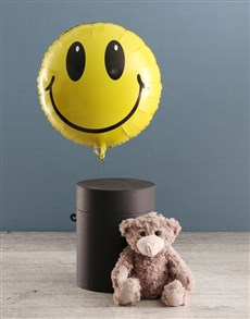 gifts: Smiley Face Balloon With Teddy Bear In Hat Box!