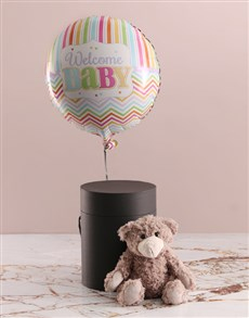 gifts: Welcome Baby Balloon With Teddy Bear In Hat Box!
