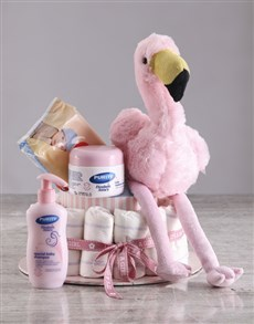 gifts: Pink Flamingo Nappy Cake!