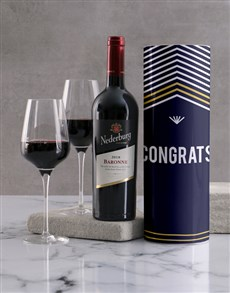 gifts: Congratulations Striped Wine Tube!