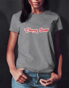 gifts: Cherry Bomb Ladies Grey Tshirt!