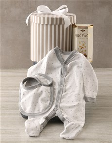 gifts: Striped Grey Baby Clothing Hat Box Hamper!