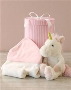 gifts: Unicorn And Baby Bath Time Hat Box Hamper!