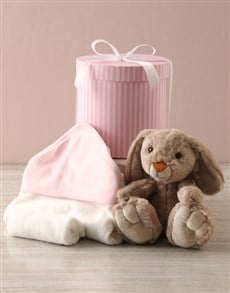 gifts: Bunny And Baby Pink Bath Time Hat Box Hamper!