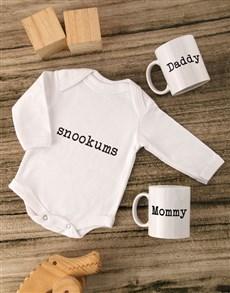 gifts: Snookums Baby Onesie Set!