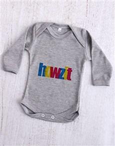 gifts: Howzit Grey Baby Onesie!