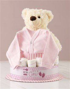 gifts: Its A Girl Teddy And Clothing Nappy Cake!