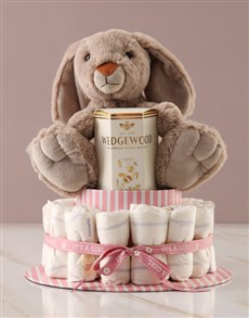 gifts: Yummy Bunny Pink Nappy Cake!