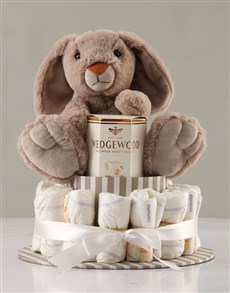 gifts: Yummy Bunny Grey Nappy Cake!