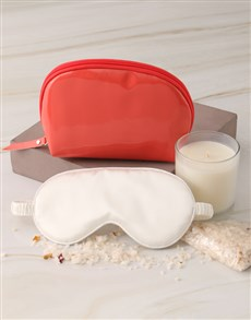gifts: Coral Cosmetic Bag and Eye Mask Hamper!