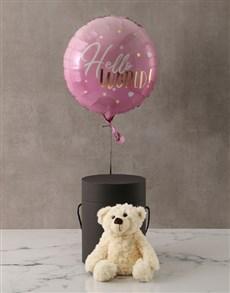 gifts: Pink New Baby Plush Bear and Balloon Box!