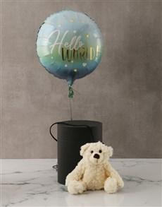 gifts: Blue New Baby Plush Bear and Balloon Box!