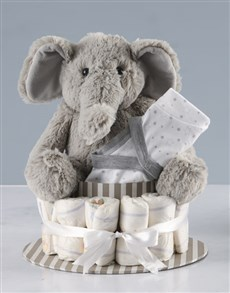 gifts: New Baby Clothes and Elephant Toy Nappy Cake!