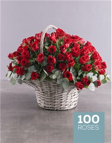gifts: 100 Red Roses in a Basket!