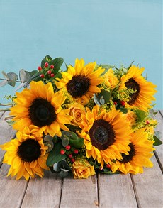 flowers: Sunflower and Gum Leaf Bouquet!