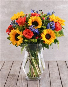 gifts: Valentines Vase Of Sunflowers And Orange Roses!