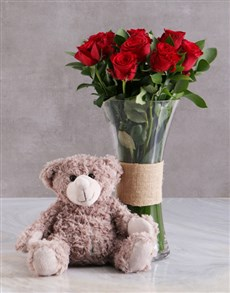 flowers: Red Roses With Brown Teddy Bear!