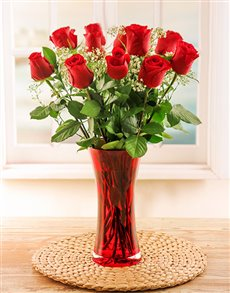 flowers: 12 Red Roses and Gyp in a Red Vase!