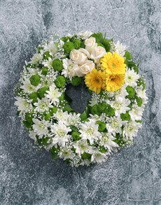 flowers: Wreath of Yellow Gerberas and Roses!