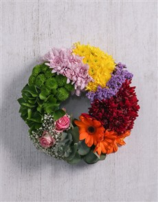 flowers: Mix Flowers Sympathy Wreath!