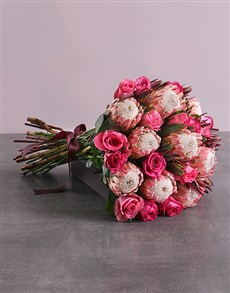 flowers: Mixed Rose and Protea Bouquet!