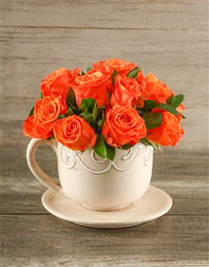 flowers: Vibrant Orange Roses in a Teacup!
