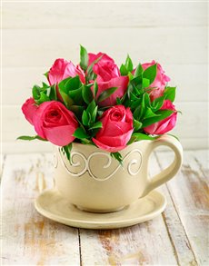 flowers: Cerise Roses in a Teacup!