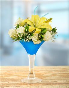 flowers: Lilies and Roses in a Martini Vase!