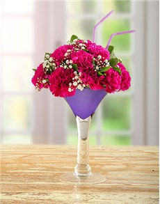 flowers: Carnations in a Wine Vase!