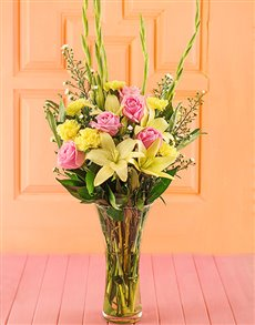 flowers: Yellow Lilies and Gladiolus !