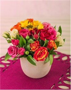 flowers: Mixed Clusters in a pottery petite Vase!