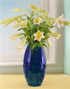 gifts: Beautiful Blue Coloured Glass Vase with St Joseph!