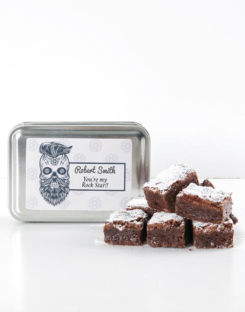 personalised: Personalised Rocker Chocolate Chunk Brownie Tin!