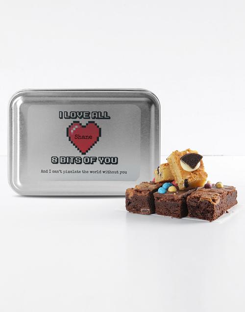personalised: Personalised Love Pixels Mixed Delights Brownies!