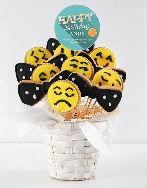 cookies-and-biscuits: Personalised Birthday Emoji Cookie Bouquet!