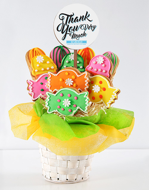 bakery: Personalised Thank You Sweetie Cookie Bouquet!