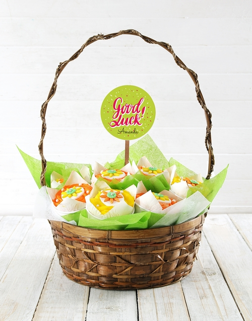 cupcake-bouquets: Personalised Bright Good Luck Cupcake Bouquet!