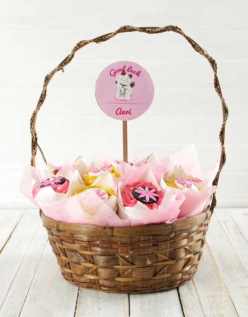 cupcake-bouquets: Personalised Floral Good luck Cupcake Bouquet!