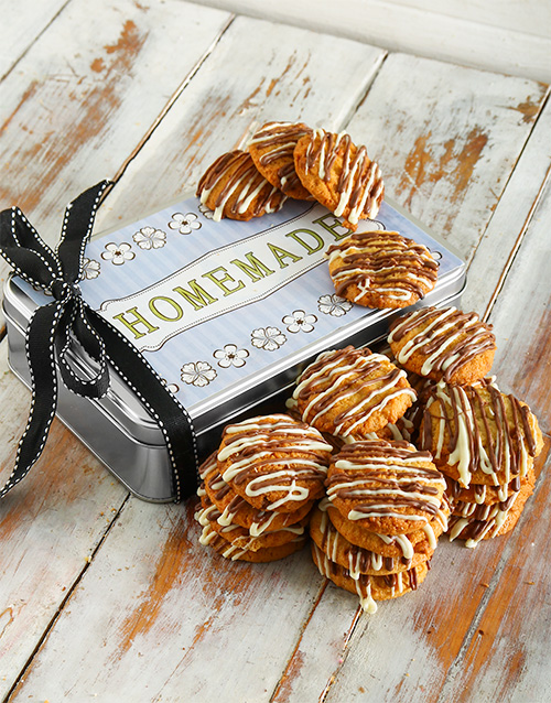 cookies-and-biscuits: Stripy Caramel Chip Cookie Tin!