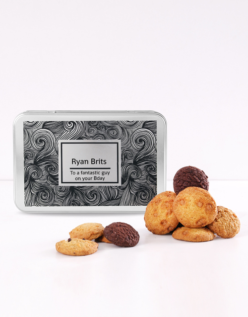 personalised: Personalised Black Swirl Cookie Tin!