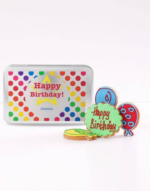 personalised: Personalised Birthday Balloon Cookie Tin!
