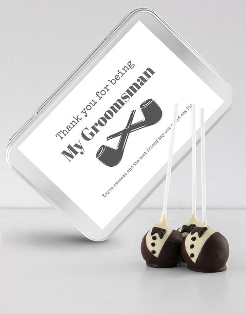 personalised: Tuxedo Cake Pops in a Personalised Tin!