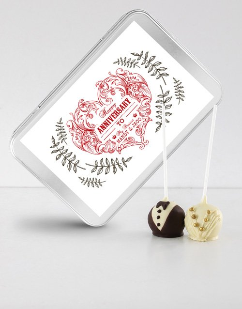 anniversary: Anniversary Cake Pops in a Personalised Tin!