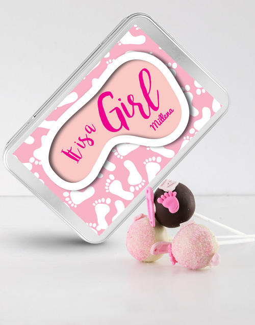 bakery: New Baby Girl Cake Pops in a Personalised Tin!