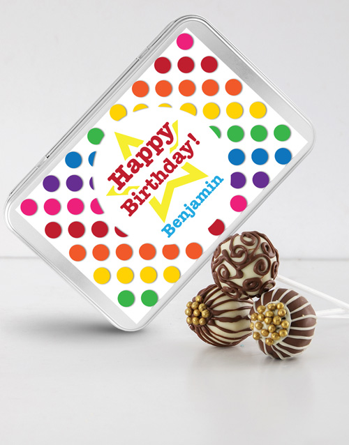 birthday: Birthday Cake Pops in a Personalised Tin!