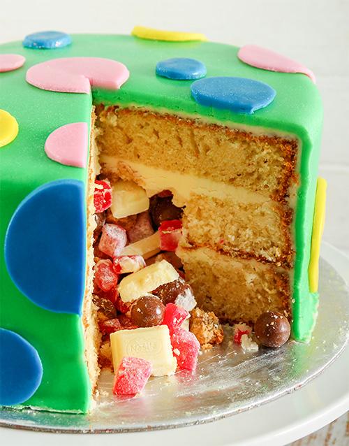 personalised: Green Polka Dot Pinata Cake 20cm!