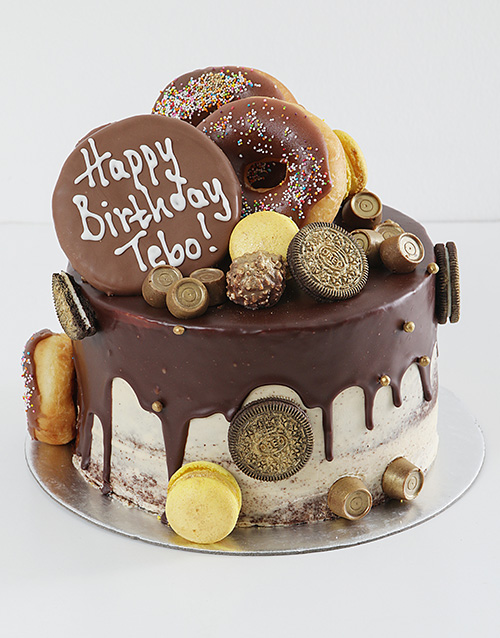 bakery: Personalised Gold Chocolate and Doughnut Drip Cake!