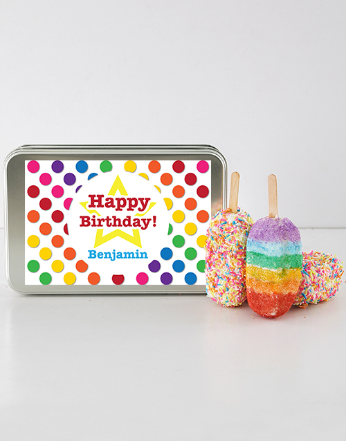 birthday: Birthday Cakes on a Stick in a Personalised Tin!